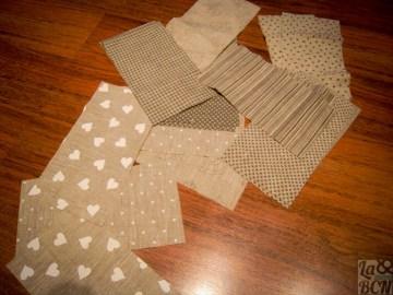 Las telas de patchwork es toda la información del viaje desorganizada