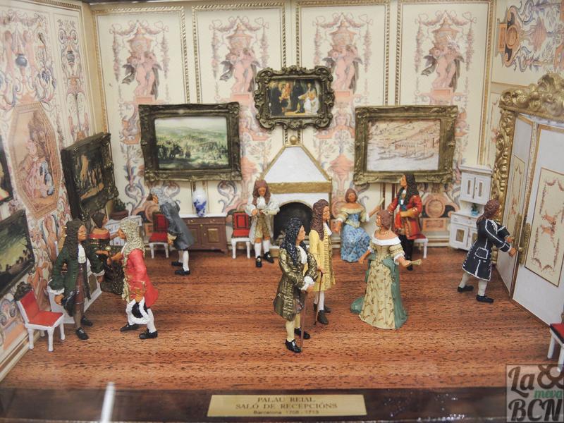 Diorama del salón de recepción del desaparecido Palau Reial. Actualmente tienen miniaturas y dioramas expuestos.