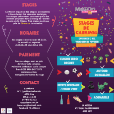 Stages de carnaval 2018 à la Mézon!