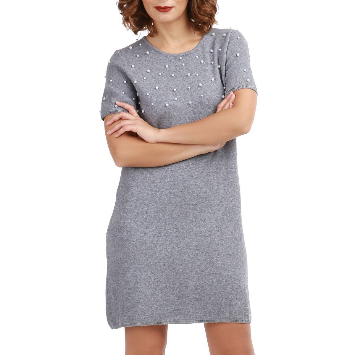 Robe Pull Femme Robe Pull Grise à Manches Courtes Et Perles