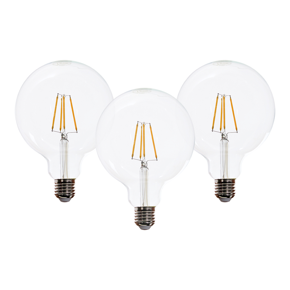 Westlight Led Glühbirne Maxi Globe Filament E27 6w Warmweiß 3er Pack Lampenprofi Click Light