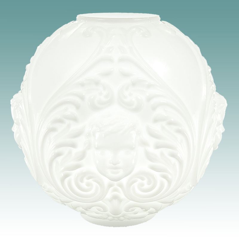 "Ceiling Fixtures #6120 S - White Cherub Face Gwtw Globe 10"" - Glass Lampshades"