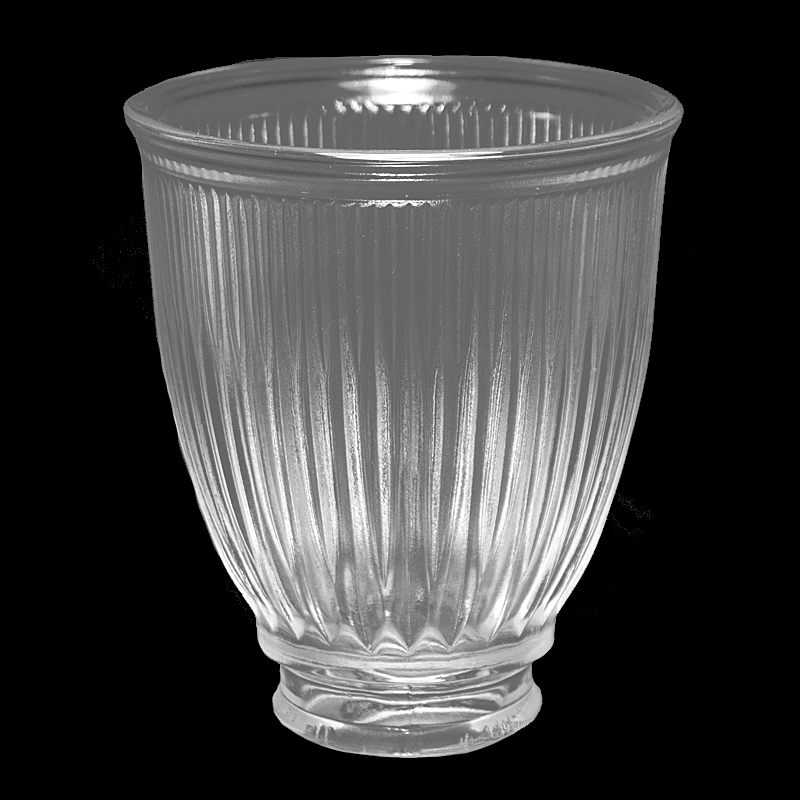 Table Tulip #7570 - Clear Ribbed Shade - Glass Lampshades