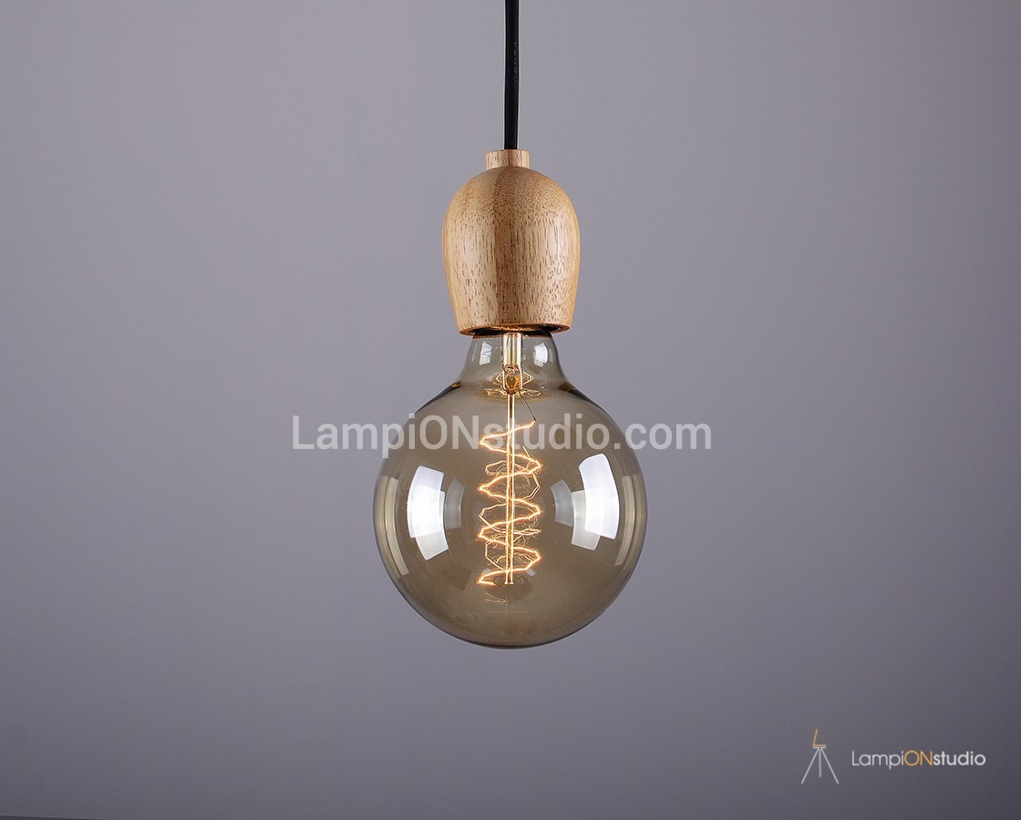 Wooden Lighting Pendants Woody 01 Single Bulb Vintage Wood Pendant Elegant Style