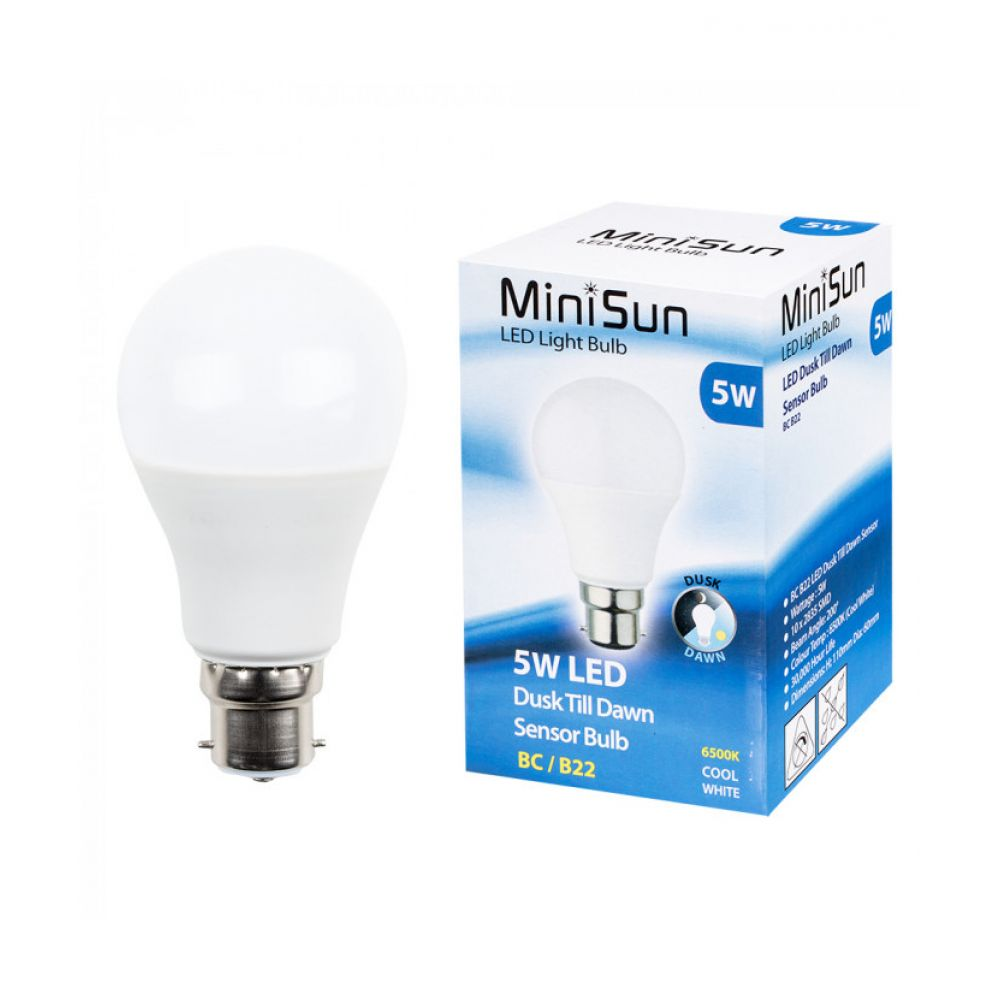 5 Watt Led 5 Watt Bc B22mm Led Dusk Til Dawn Cool Daylight White Sensor Bulb