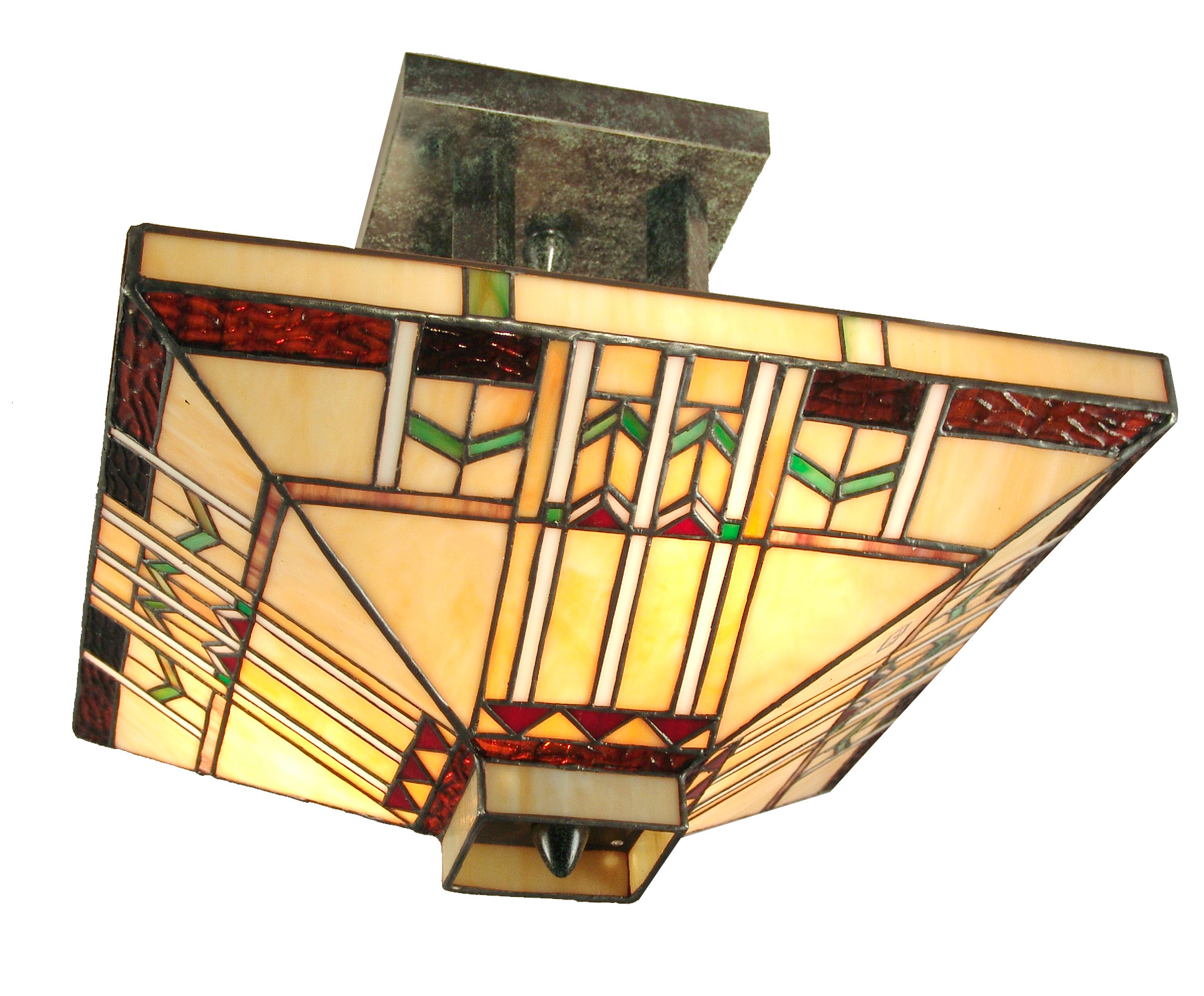 Mission Style Ceiling Light Dale Tiffany Th70332 Craftsman San Carlos Semi Flush Mount
