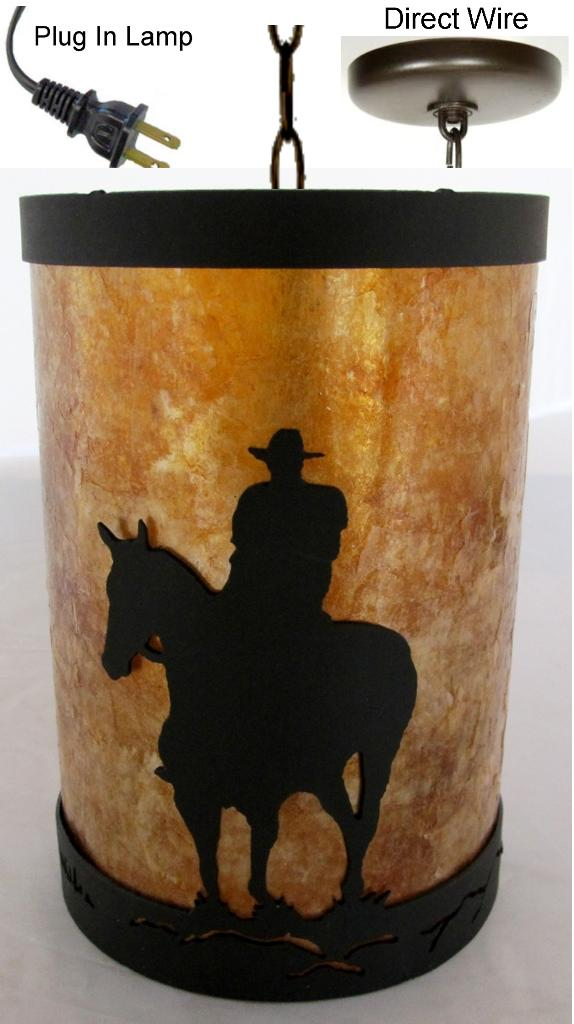 Edison Bulb Light Fixtures Cowboy On Horse Mica & Metal Pendant Light | Lamp Shade Pro