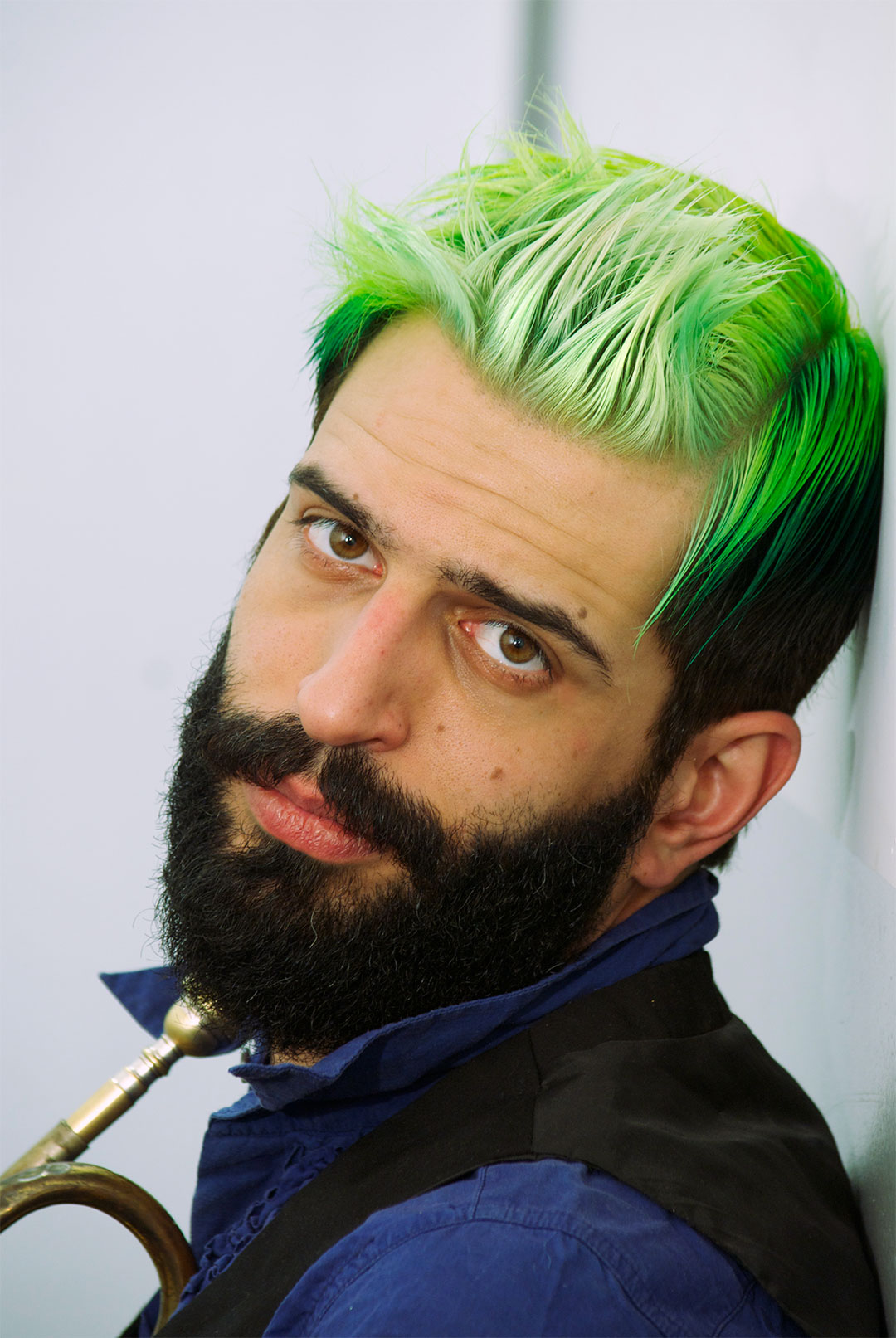 mens short hairstyles daring gradient green hair color by