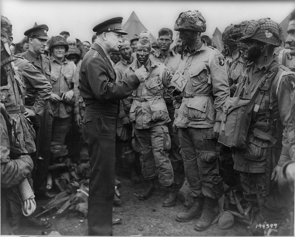 President Eisenhower with troops before D-Day (courtesy of Wikipedia Commons)