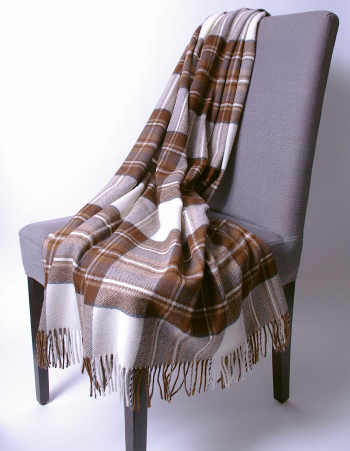 Wolldecke Natural Dress Stewart Plaid Bronte Tweeds By