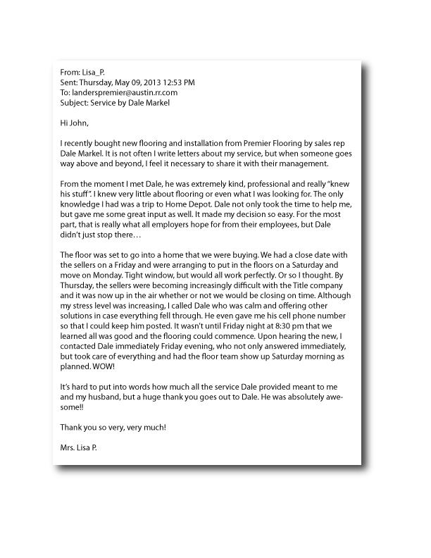 Letters of Recommendation Landers Premier Flooring