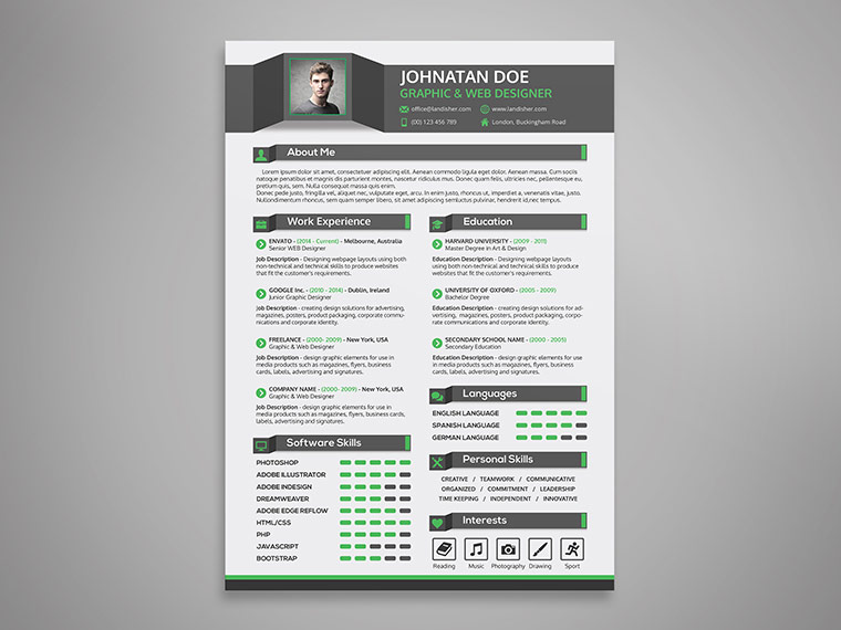 A Good Job Resume Free Resume Sites Free Online Resume Databases And Job Creative Resume Cv Cover Letter And Portfolio Psd Template