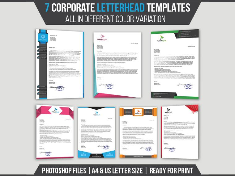 7 Corporate Letterhead Templates Pack - Landisher - corporate letterhead template
