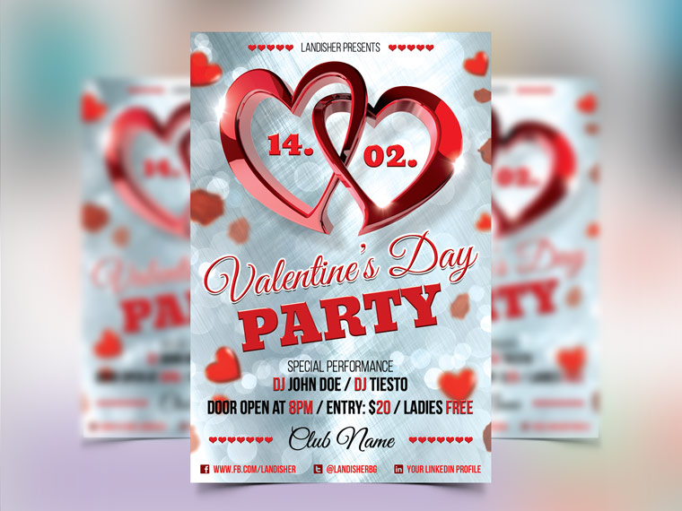 Valentine\u0027s Day - PSD Flyer Template - Landisher