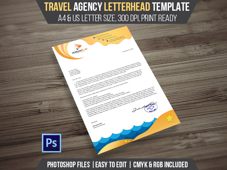 Travel Agency Letterhead PSD Template - Landisher - psd letterhead template