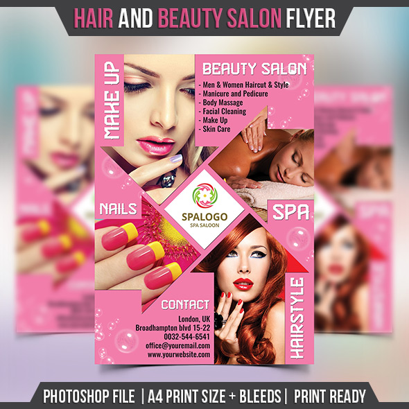 Hair and Beauty Salon Flyer Template - Landisher - hair salon flyer template