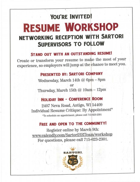 Resume Workshop Sponsored by Sartori Company - Langlade County