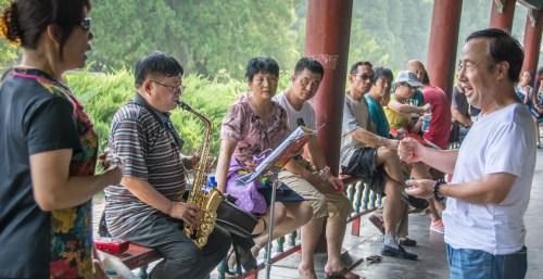 Den kinesisk opera øver ved Himmeltemplet