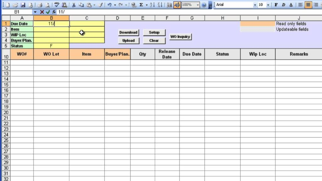 work order tracking spreadsheet