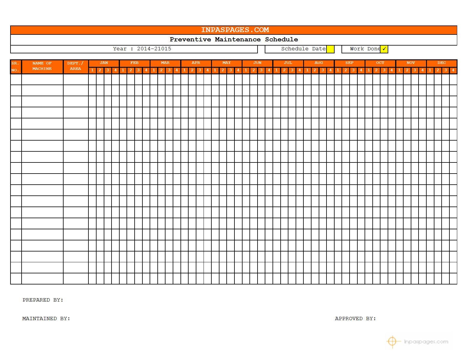 car maintenance schedule spreadsheet
