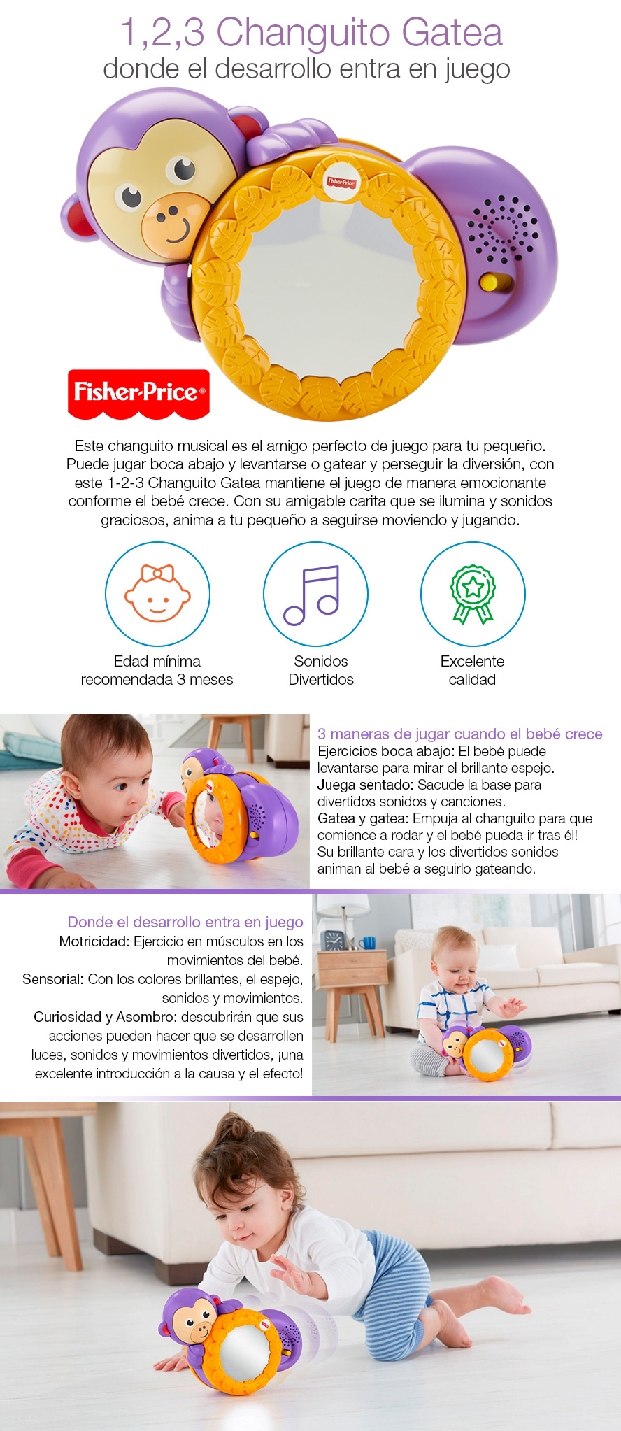 Juegos Para Bebes 2 Meses 1 2 3 Changuito Gatea Fisher Price Oferta Loi