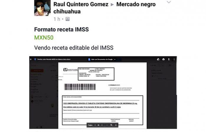 Venden de nuevo el formato de receta del Imss editable en redes