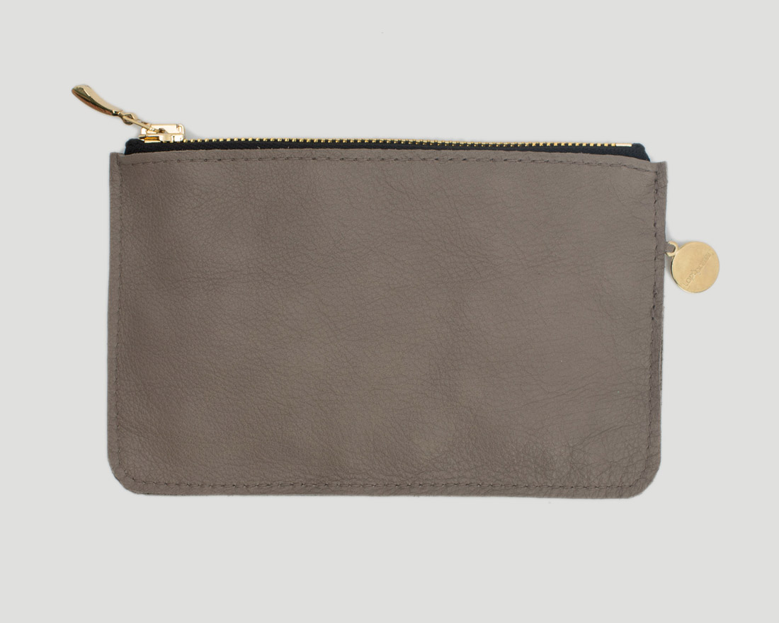 Zipper Beutel Pouch Raw Grey