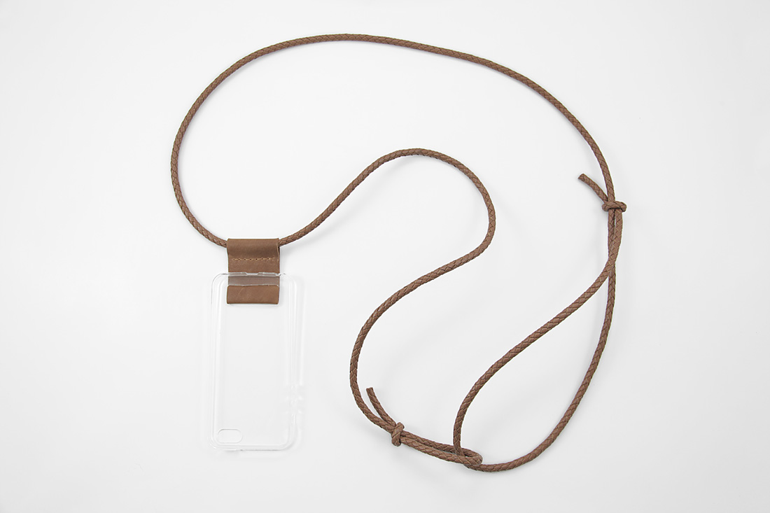 Cognac Leder Crossbody Iphone Case With Braided Leather Cord Minimal Cognac