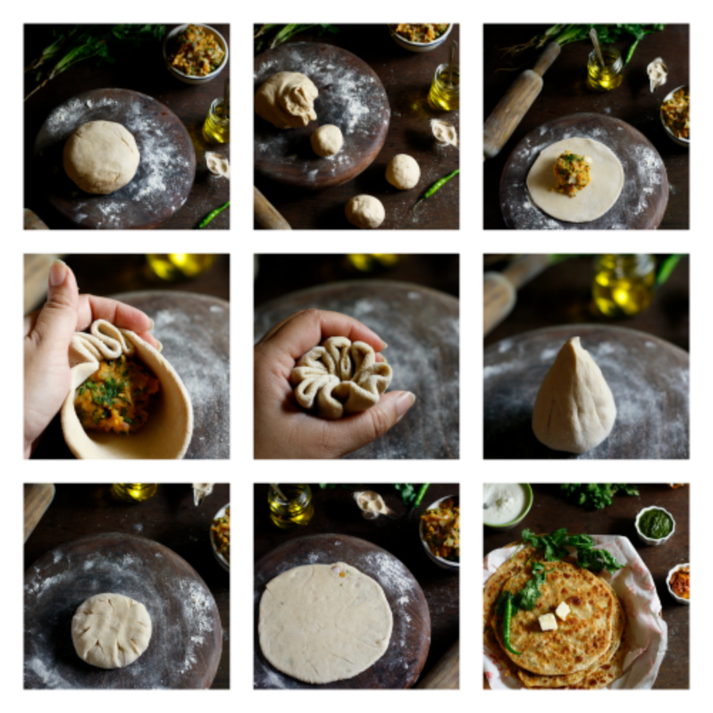 aloo paratha/ indian flat bread stuffed with potato filling