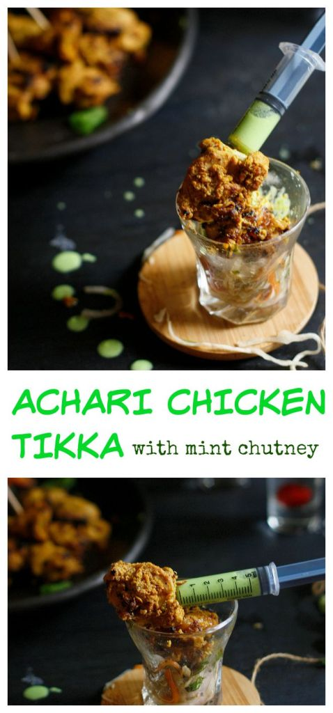 The ever- favorite, crowd pleasing chicken tikka gets a slightly tangier,spicier marinade in the form of my homemade achari (pickle) masala.