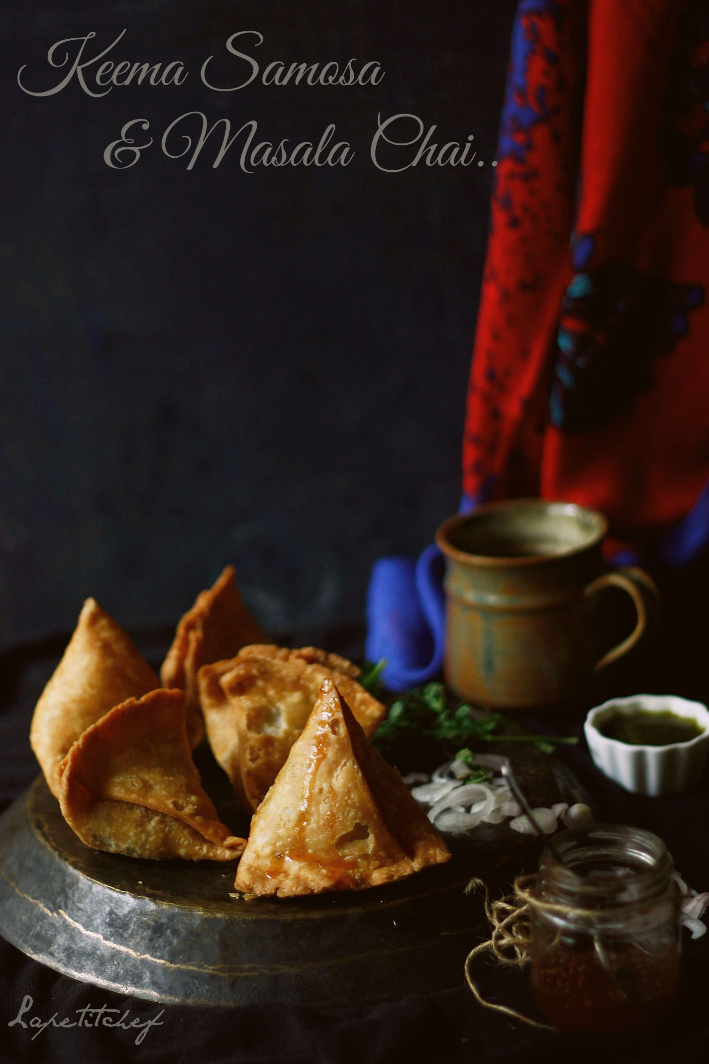 Keema Samosa is a mouth watering delicacy stuffed with minced goat meat and peas that has been slow cooked in fragrant garam masala and given a ghee rub!!