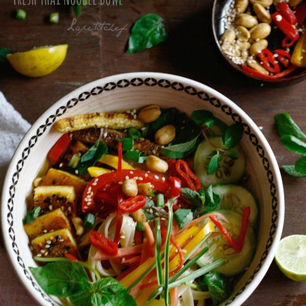 An easy one pot dish with a Thai flavored light broth, packed with veggies, noodles and sesame crusted tofu, this will make sure you feel satiated without any guilt.