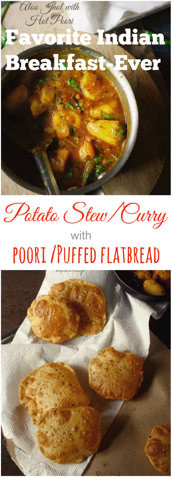 A MUST make Indian dish that will satiate all your senses!! Spicy potato curry with puffed flatbreads called poori..Nostalgia at its BEST!