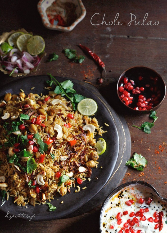 Chana Pulao or chickpeas pilaf is an easy one pot meal that is your solution to veggie nights and for days when you want to serve something more than the same old vegetable biriyani.