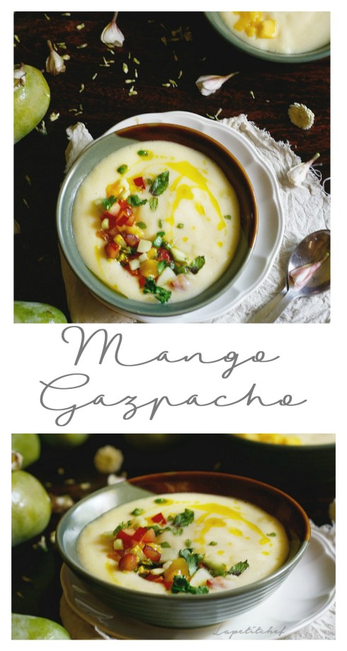 Mango Gazpacho with plum salsa is essentially a chilled flavorful soup that's perfect for the summers and a great alternative to the usual mango shake and other mango desserts. Mango gazpacho is perfect to start off your summer brunch menu and wow guests.