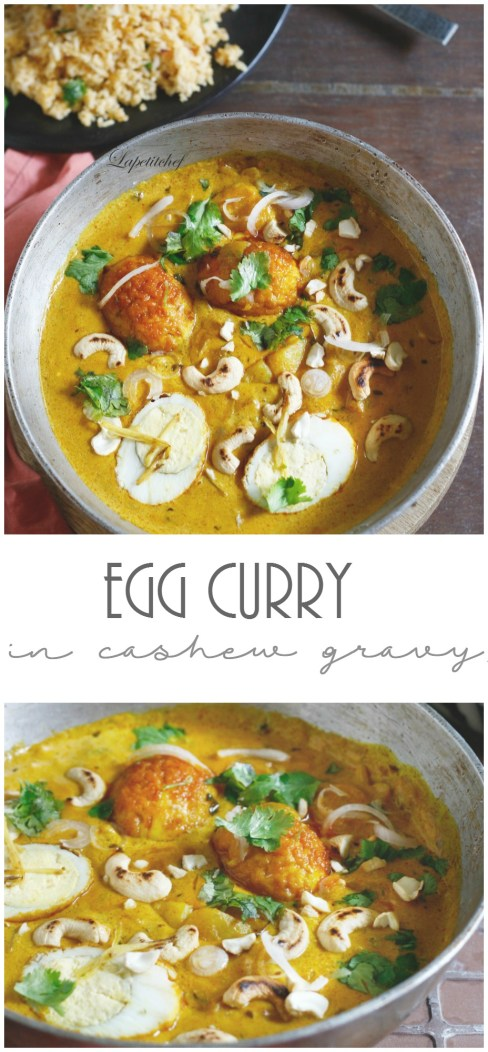 egg curry in cashew gravy is a rich creamy gravy base made of cashew cream and a tomato base, this curry is everything you need something quick but fancy to serve guests or simply want to treat your family to a night of Mughlai indulgence.