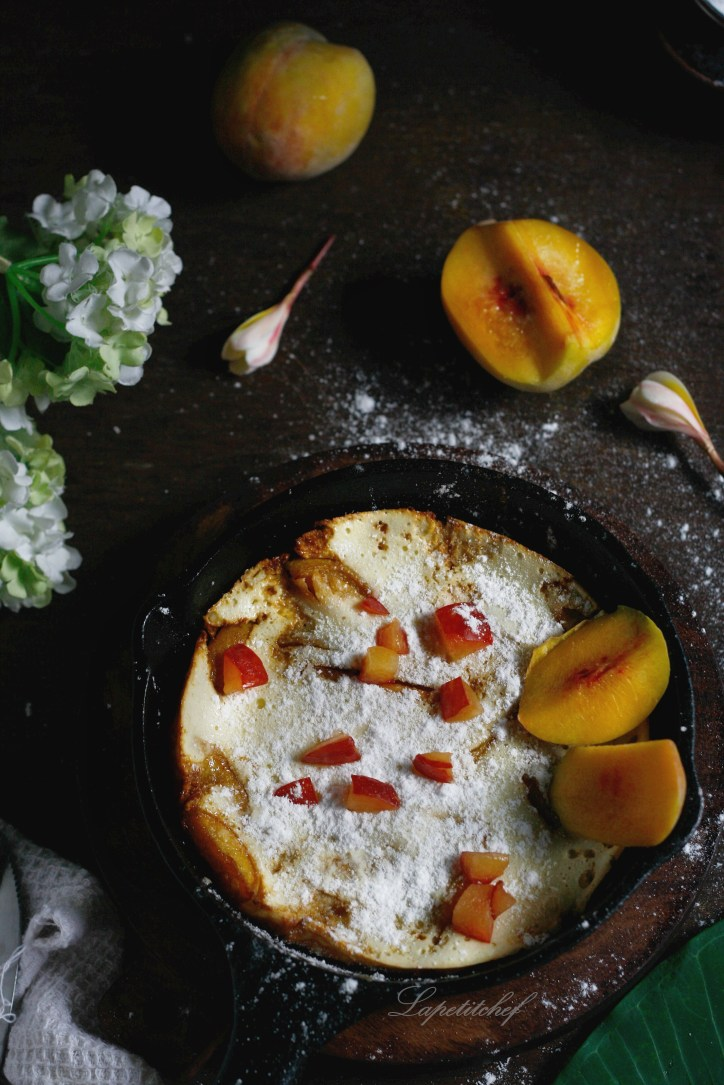 Dutchbaby pancakes with peaches are a great indulgent and luxurious breakfast option. Made of flour, eggs and milk, this is a cross between the good old pancake,crepe and a popover.