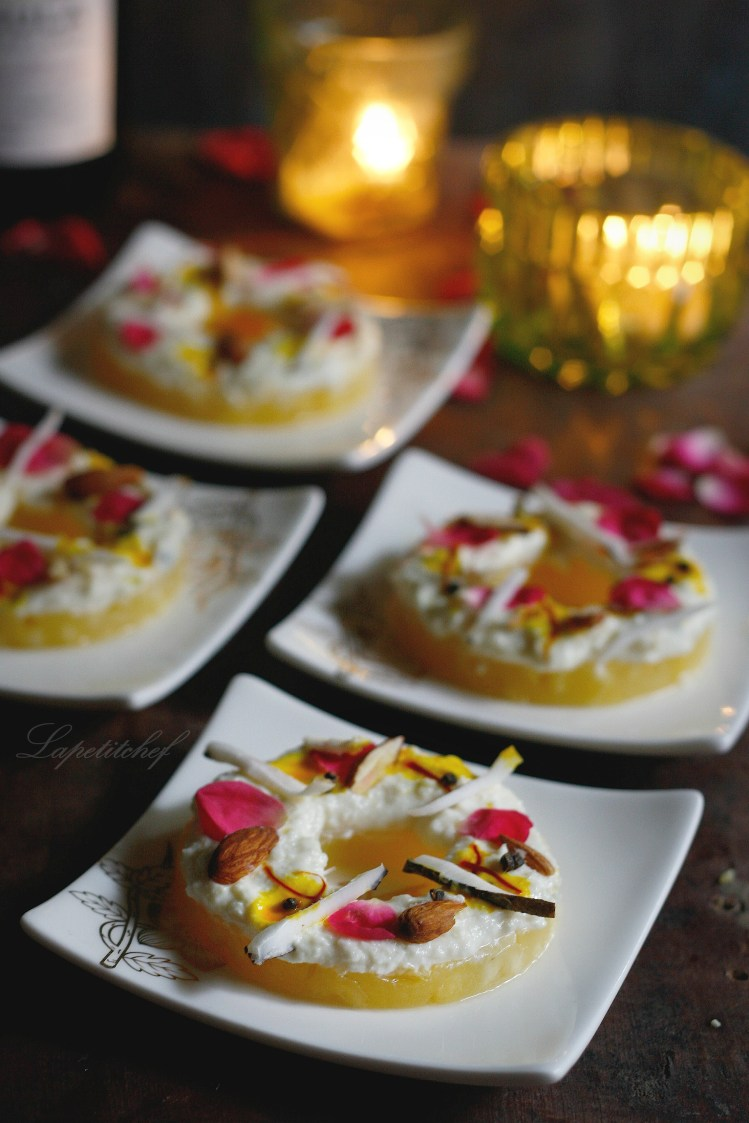 Pineapple sandesh with orange zest and saffron