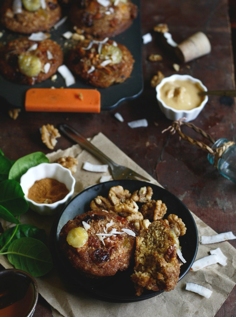 Banana coconut muffins with organic peanut butter and walnut streusel