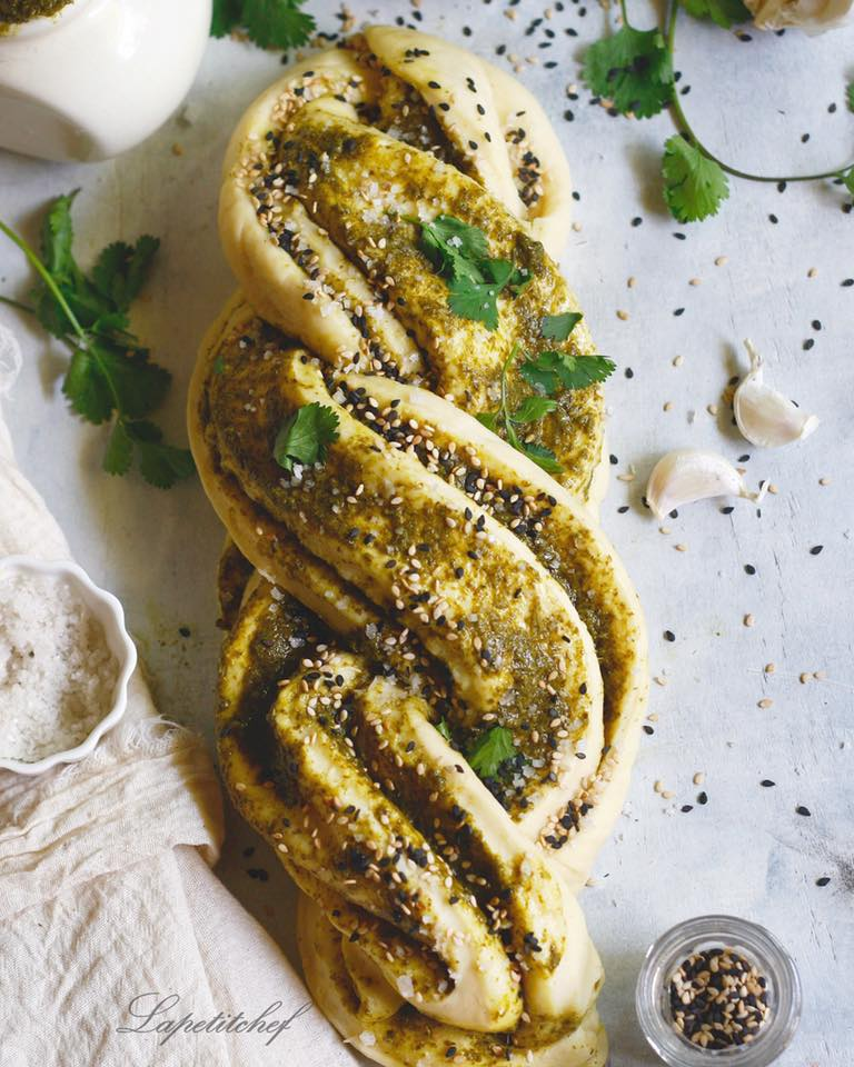 coriander mint chutney braided bread