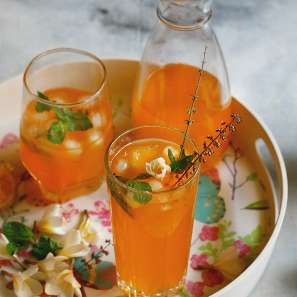 Cantaloupe cooler with frangipane and holy basil syrup