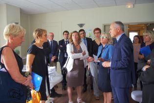 Visite de la rectrice académique du Grand Est, Florence Robine (au centre), au lycée des métiers de Contrexéville.