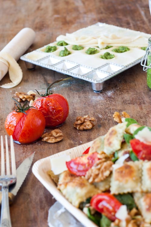Salade de Ravioles Frites farcies au pesto Noix-Epinard5