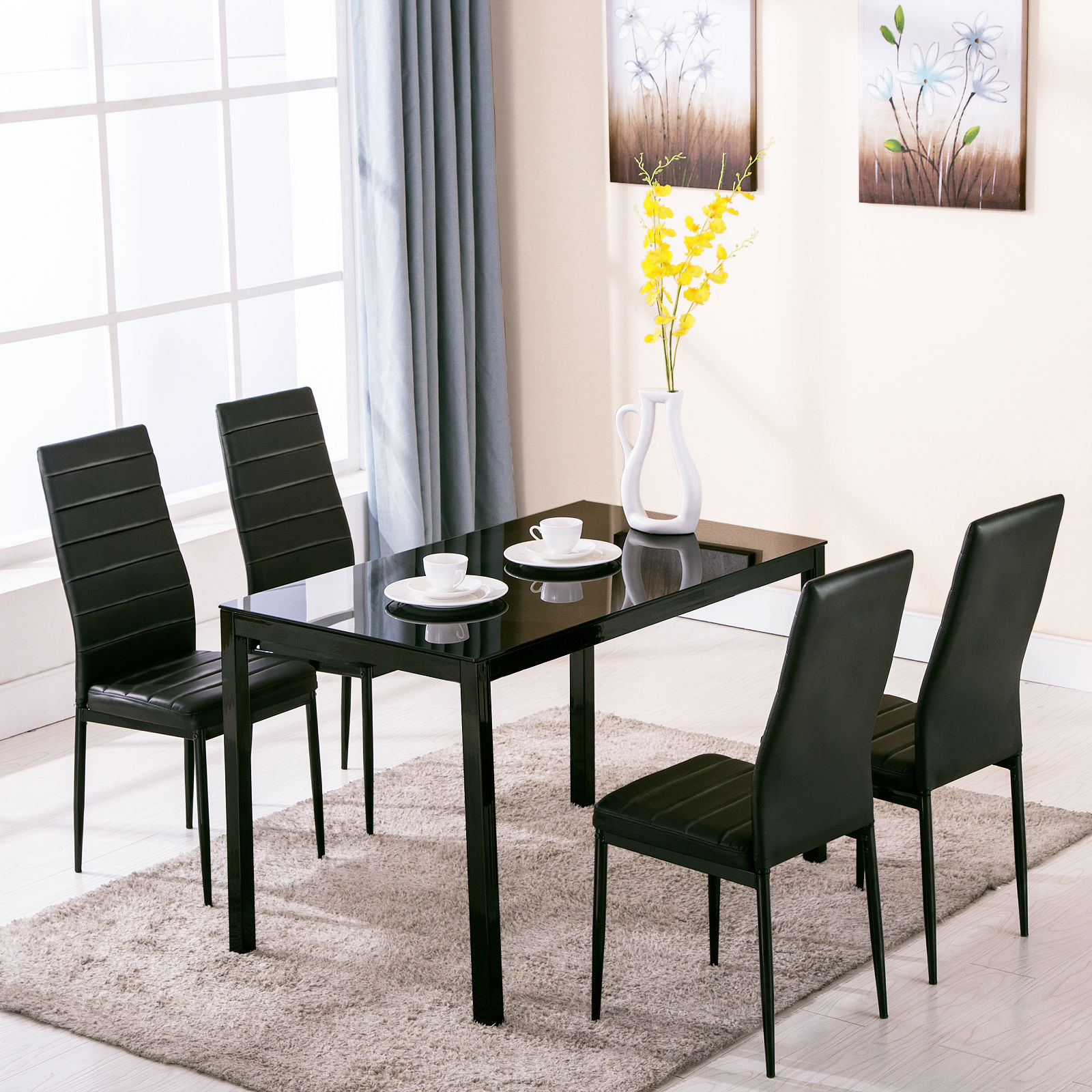 Breakfast Chairs Details About Set Of Glass Metal Dining Table Furniture And 4 Chairs Breakfast Kitchen Room
