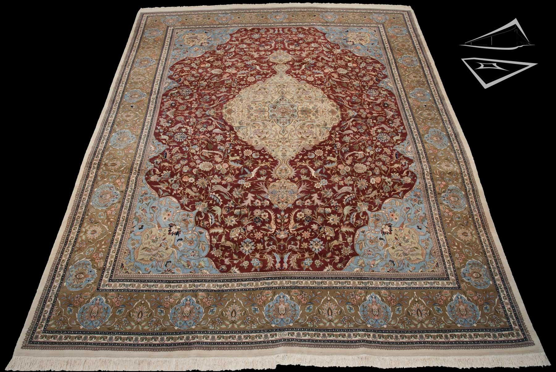 Persian Tabriz Rug 1239 X 1639 Burgundy Green