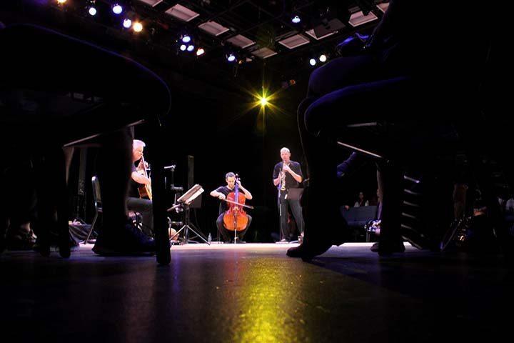 The Studio Theatre held Quarteto Nuevo Monday night as a jazz concert performing 12 pieces of music (photograph/Hannah Tavares).