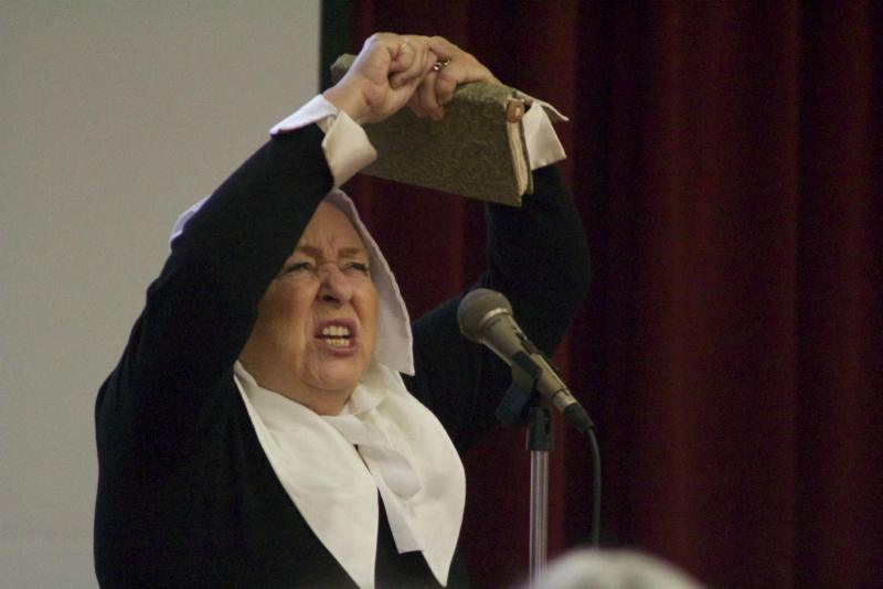 Puritan actress full of emotion during the play that honored the women throughout history. (Photo by Niko LaBarbera)