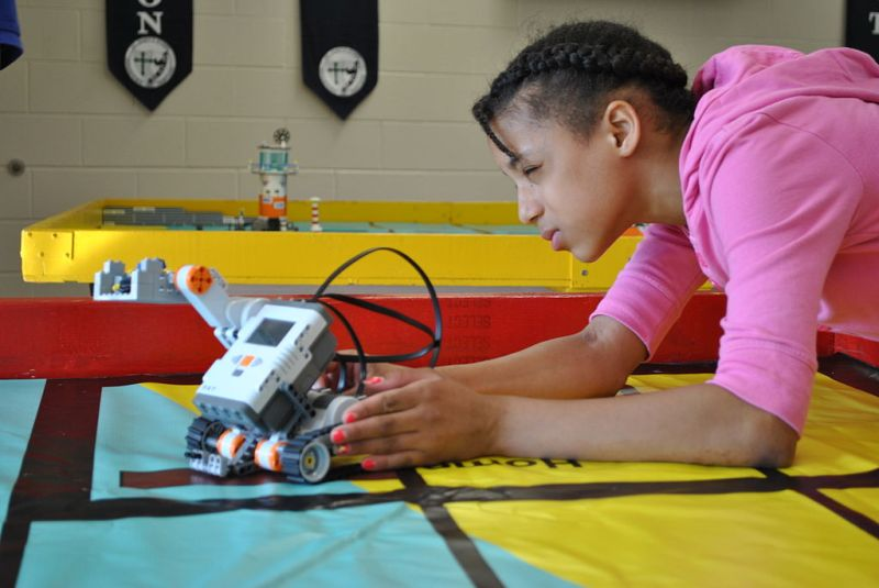 A student competes in a STEM competition, hosted by the U.S. Navy. STEM encourages innovation and student success in science, technology, engineering and math. (U.S. Navy Photo/Released)
