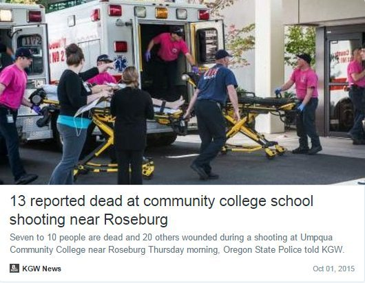 Reports of shooting at Umpqua Community College in Roseburg, Oregon, have Twitter working overtime (Twitter/KGWNews)
