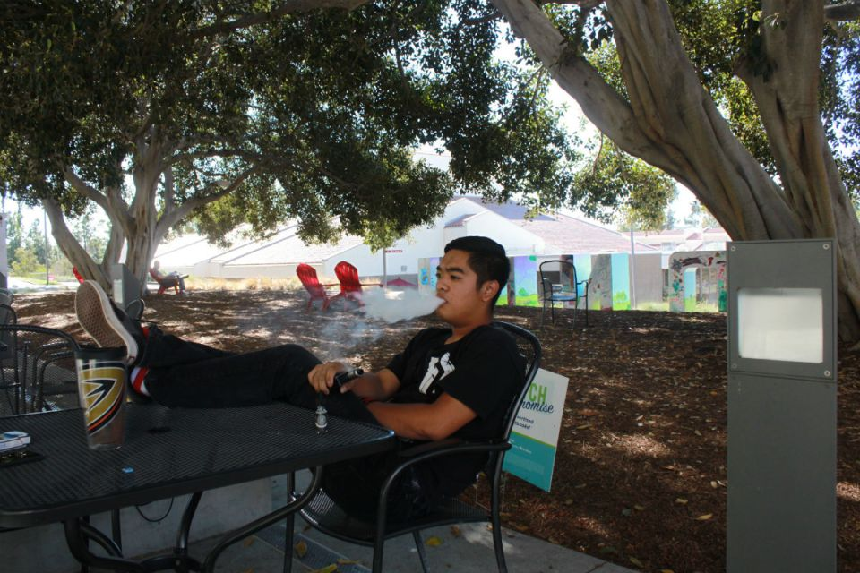 Smokers rights were not taken into account when the new smoking ban passed so Jayvin Fulinara will smoke anywhere he pleases on campus (Jordan Rangel/Lariat)